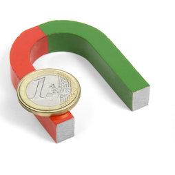 EDU-3, Herradura magnética pequeña, 50 x 40 mm, de AlNiCo5, pintado de rojo y verde