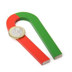 EDU-6, Ferro di cavallo magnetico rastremato, 100 x 48 mm, in AlNiCo5, smaltata in rosso e verde