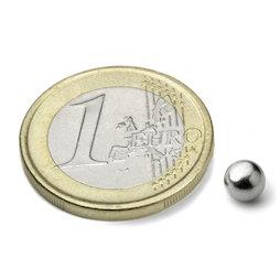 K-05-N, Bille magnétique Ø 5 mm, néodyme, N35, nickelé
