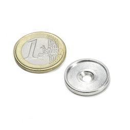 MSD-17, Disco metallico con bordo e foro svasato M3, diametro interno 17 mm, come controparte per i magneti, non è un magnete!