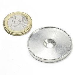 MSD-33, Disco metallico con bordo e foro svasato M4, diametro interno 33 mm, come controparte per i magneti, non è un magnete!