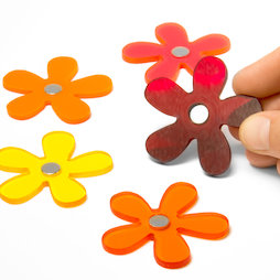 AG-03, Summer Flowers, flower magnets in summer colours, set of 5