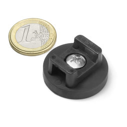 CMN-31, magnete gommato con base in acciaio, per cablaggio, Ø 31 mm