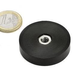 ITNG-40, potmagneet met rubber coating, met inwendig schroefdraad M6, Ø 45 mm