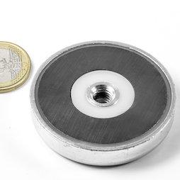 ITF-50, Magnete in ferrite con base in acciaio con filettatura interna M8, Ø 50 mm