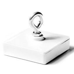 WS-HOOK-02, Magnete a barra con occhiello, sistema magnetico in ferrite in un involucro di plastica, quadrato, 58 x 58 mm