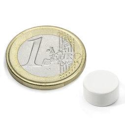 S-10-05-E/white, Colore bianco, Disco magnetico Ø 10 mm, altezza 5 mm, neodimio, N42, rivestito in resina epossidica