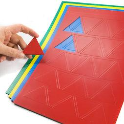 BA-014TR, Magnetische symbolen driehoek groot, voor whiteboards & planborden, 25 symbolen per A4-blad, in verschillende kleuren