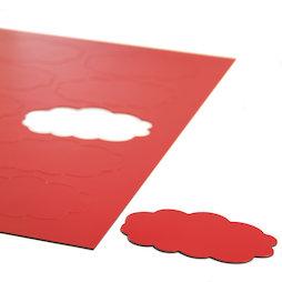 BA-014CL/red, Simboli magnetici nuvola, per lavagne bianche & lavagne per la progettazione, 10 simboli per foglio A4, rosso