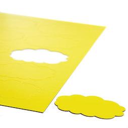 BA-014CL/yellow, Simboli magnetici nuvola, per lavagne bianche & lavagne per la progettazione, 10 simboli per foglio A4, giallo
