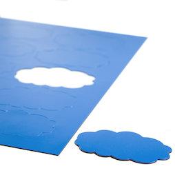 BA-014CL/blue, Simboli magnetici nuvola, per lavagne bianche & lavagne per la progettazione, 10 simboli per foglio A4, blu