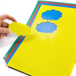 BA-014CL, Simboli magnetici nuvola, per lavagne bianche & lavagne per la progettazione, 10 simboli per foglio A4, in diversi colori