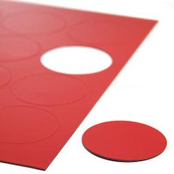 BA-014CI/red, Simboli magnetici cerchio grandi, per lavagne bianche & lavagne per la progettazione, 12 simboli per foglio A4, rosso