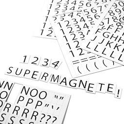 BA-015LN, Lettere e numeri magnetici, per etichettare scaffali metallici, 120 caratteri per foglio A4, set in due parti, bianco