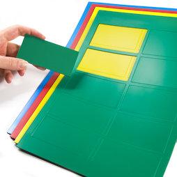 BA-014RE, Magnetsymbole Rechteck groß, für Whiteboards & Planungstafeln, 10 Symbole pro A4-Bogen, in verschiedenen Farben