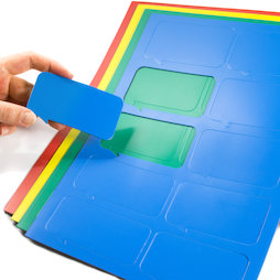 BA-014BR, Simboli magnetici fumetto rettangolare, Per lavagne bianche & lavagne per la progettazione, 10 simboli per foglio A4, in diversi colori