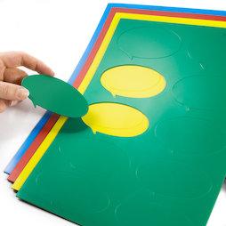 BA-014BO, Simboli magnetici fumetto ovale, per lavagne bianche & lavagne per la progettazione, 10 simboli per foglio A4, in diversi colori