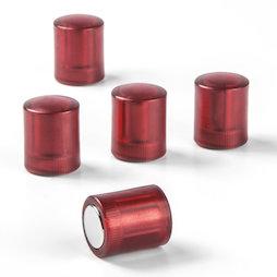 M-PC/redt, Tafelmagnete zylindrisch, Neodym-Magnete mit Kunststoffkappe, Ø 14 mm, transparent rot