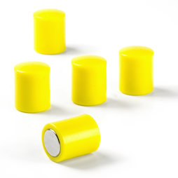M-PC/yellow, Magneti per lavagna cilindrici, magneti al neodimio con cappuccio in plastica, Ø 14 mm, giallo