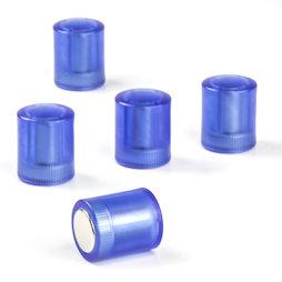M-PC/bluet, Magneti per lavagna cilindrici, Magneti al neodimio con cappuccio in plastica, Ø 14 mm, blu trasparente