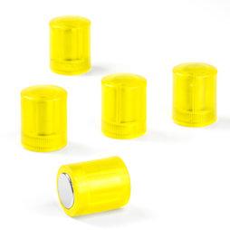 M-PC/yellowt, Tafelmagnete zylindrisch, Neodym-Magnete mit Kunststoffkappe, Ø 14 mm, transparent gelb