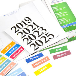 MIP-A4-03, Cartellini magnetici stampabili, Per scaffali magnetici, lavagne bianche, etc..., in diverse dimensioni