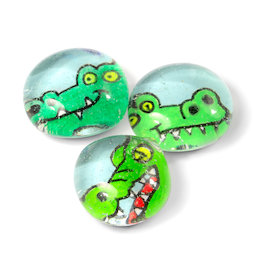 LIV-128/croco, Animali acquatici, magneti da frigo fatti a mano, set da 3, coccodrillo