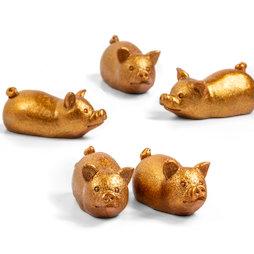 LIV-132, Maialino dorato, magneti decorativi a forma di maialino, set da 5