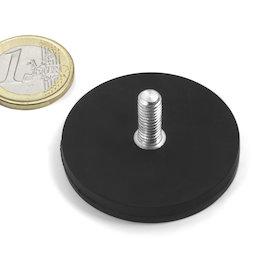 GTNG-43, magnete gommato con base in acciaio con perno filettato, Ø 43 mm, filettatura M4