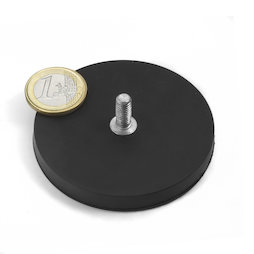 GTNG-66, magnete gommato con base in acciaio con perno filettato, Ø 66 mm, filettatura M8