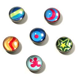 LIV-05, Crazy, magneti decorativi in acrilico e metallo, set da 6