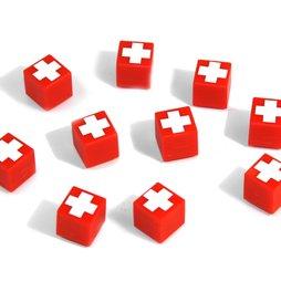 AG-01, Swiss Cube, magneti decorativi rossi con croce svizzera