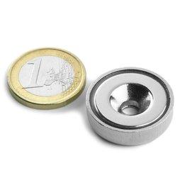 Magnete con base in acciaio con foro svasato