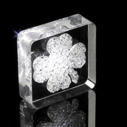 LIV-39, Lucky Diamond, calamita da frigo quadrifoglio, con cristalli Swarovski
