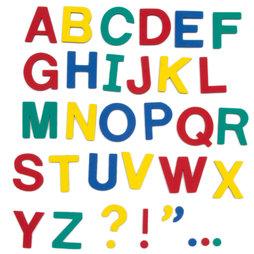M-38/cap, Magnet-Buchstaben, ca. 100 Buchstaben & Satzzeichen, aus EVA-Schaum, 4 Farben gemischt