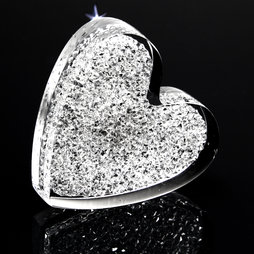 LIV-55, Glitter Heart, strong fridge magnet, with Swarovski crystals