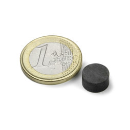 FE-S-10-05, Disco magnetico Ø 10 mm, altezza 5 mm, ferrite, Y35, senza rivestimento