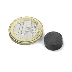 FE-S-12-05, Disco magnetico Ø 12 mm, altezza 5 mm, ferrite, Y35, senza rivestimento