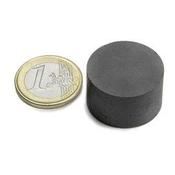 FE-S-25-15, Disque magnétique Ø 25 mm, hauteur 15 mm, ferrite, Y35, sans placage