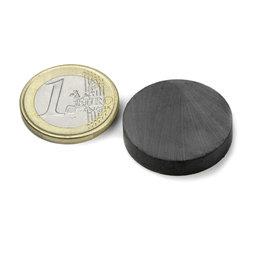 FE-S-25-05, Disco magnetico Ø 25 mm, altezza 5 mm, ferrite, Y35, senza rivestimento