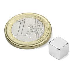 W-07-N, Cubo magnetico 7 mm, neodimio, N42, nichelato