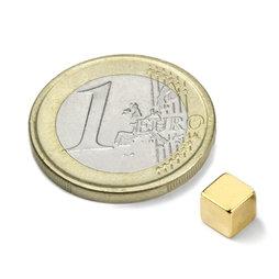 W-05-N50-G, Cubo magnetico 5 mm, neodimio, N50, dorato