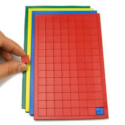 BA-012S, Simboli magnetici quadrato piccoli, per lavagne bianche & lavagne per la progettazione, 112 simboli per foglio, in diversi colori