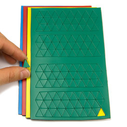 BA-012T, Simboli magnetici triangolo piccoli, per lavagne bianche & lavagne per la progettazione, 180 simboli per foglio, in diversi colori
